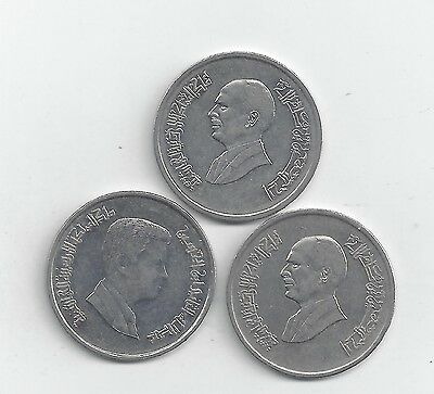 3 DIFFERENT 5 PIASTRE COINS from JORDAN (1993, 1998 & 2000)