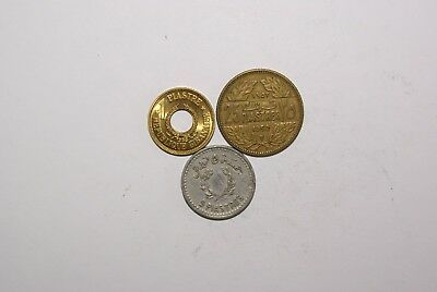 3 OLDER COINS from LEBANON - 1955 1 PIASTRE, 1954 5 PIASTRE & 1952 25 PIASTRES