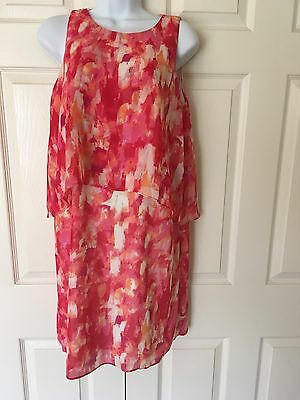 Prelude NWT Woman's Petite Size 6 Ivory Coral Pink Dress