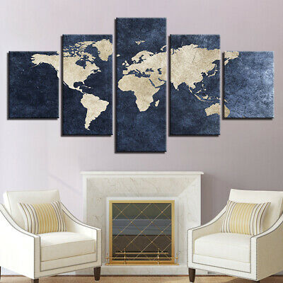 Framed Home Decor Picture Retro World Map Canvas Prints Painting Wall Art 5PCS
