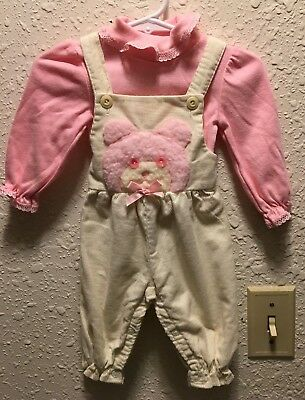 Chandler Baby Girl Overalls and Knit Top Size 3 M Ivory & Pink 3D Bear Applique