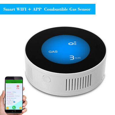 WIFI LCD Display Smart Combustible Gas Detector Smoke Temperature Sensor US G2M3