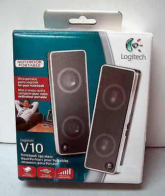 Logitech V10 portable laptop speakers, compact for desk