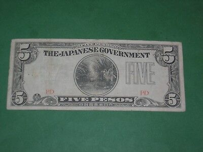 PHILIPPINES 1942 5 PESOS CIRCULATED BANKNOTE JAPANESE OCCUPATION   P-107a