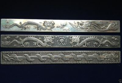 3 pc Old Chinese Exquisite carving Silver Bullion Dragon and Flaming Pearl