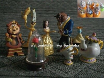 Rare New Full Set Beauty and the Beast Tiny 7 Figures incl Rose Disney Choco Egg