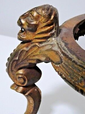 antique LIONS & PAWS bronze oil lamp base SALVAGED 19thC cast GORGEOUS HEAVY