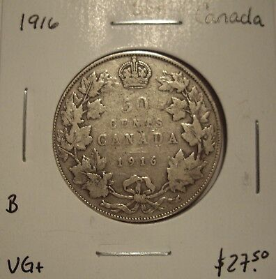 B Canada George V 1916 Silver Fifty Cents - VG+