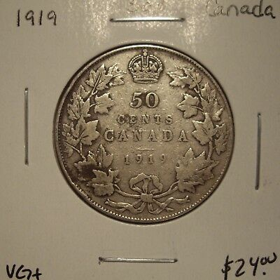Canada George V 1919 Silver Fifty Cents - VG+
