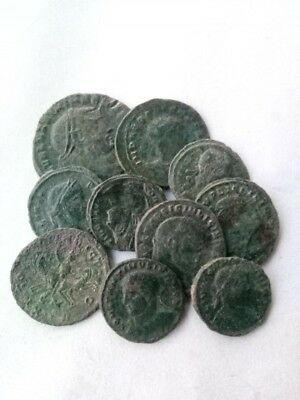 036.Lot of 10 Ancient Roman Bronze Coins,Very Fine