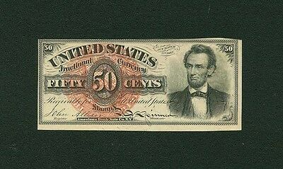 """U.s.  1869-75  50 Cent Fractional Currency Fr-1374 """"lincoln""""  Uncirculated"""