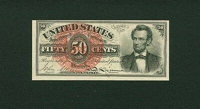 """U.s.  1869-75  50 Cent Fractional Currency Fr-1374 """"lincoln"""" Choice Uncirculated"""
