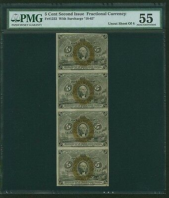 1863-67 5 Cent Fractional Currency Fr-1233 Certified Pmg Au55, Sheet Of (4)
