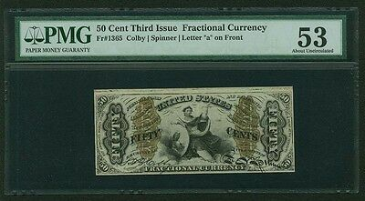 1864-69 50 Cents Fractional Currency Fr-1365 Certified Pmg About Uncirculated-53