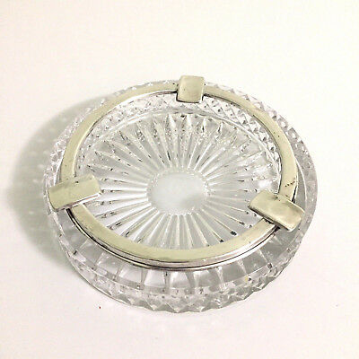 Antique Ashtray Cut Glass .800 80% Silver 3 Holder Rim
