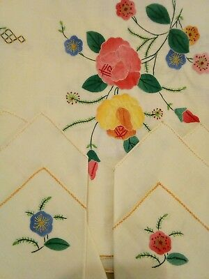 """Vintage 52"""" Square Tablecloth & Napkin Set Chinese Hand Embroidery Floral"""