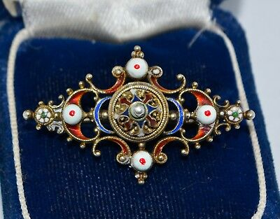 Antique Victorian SILVER & Enamel Ornate Austro Hungarian Lace Pin / Brooch