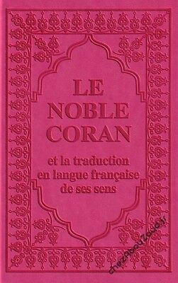 Le Noble Coran Style Cuir Rose français arabe complet livre islam - NEUF