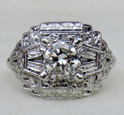 Art Deco Fancy .65 Ct Old Transitional Cut Diamond Solitaire 14K Engagement Ring