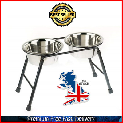 Double Raised Stainless Steel Pet Dog Bowls Stand Feeding Station Water Or Food