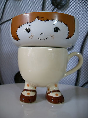 Vintage Stacking Girl Footed Cup and Bowl
