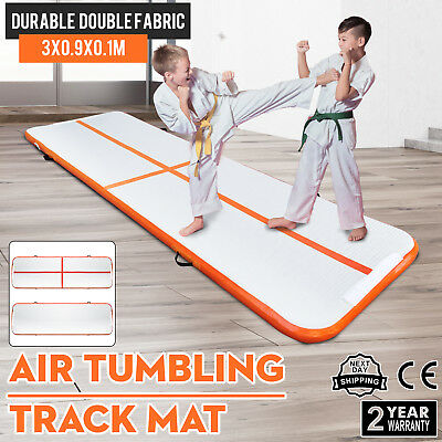 10Ft Air Track Floor Tumbling Inflatable Gym Mat Yoga PVC 4in Thick Water Sport