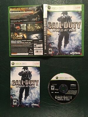 Call of Duty World at War Xbox 360 2008 Complete CIB USA Cleaned Tested Working