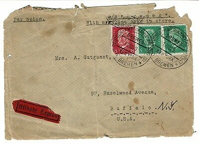 Bremen to NY, 1929 Zeppelin Cover, Front Only - Lot 101517