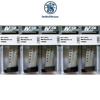 FIVE Smith & Wesson M&P SHIELD MAGAZINES 9mm 8 Rounds 19936 S&W FAST SHIP