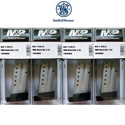 FOUR Smith & Wesson M&P SHIELD MAGAZINES 9mm 8 Rounds 19936 S&W FAST SHIP