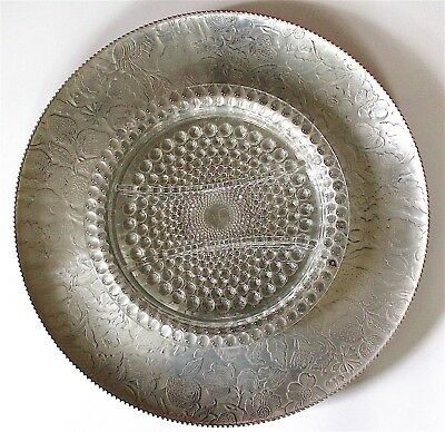 Vintage 1950'S Large Round Embossed  Aluminum Tray With 3-Section Glass Insert