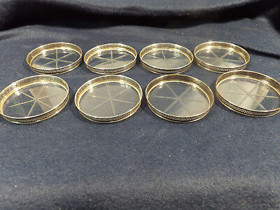 Eight Vintage Sterling Silver Webster Coasters Pierced Edge Glass Base