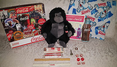 Misc Lot Coca Cola Collectibles Coke Tray, Tin, Puzzle, Blanket, Rulers, Ect...