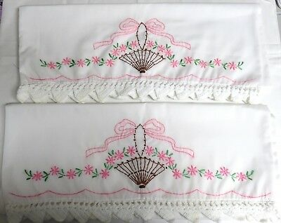 Pair of Vintage Hand Embroidered Pillowcases-Pink Brown Umbrella -Crocheted Edge