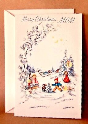 Vintage Glitter Angel Christmas Card Rust Unused W Envelope Ships Free
