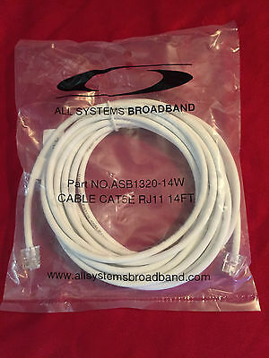 (NEW) 14 FT CAT5E WHITE RJ11 Data (Telephone) Cable #ASB1320-14W