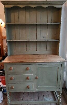 Antique Solid Oak Dresser in Chateau Grey shabby chic country style