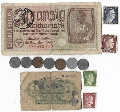 WWI Mark WWII Germany Reichsmark Note Stamp Coin Collection Rare Old War Big Lot