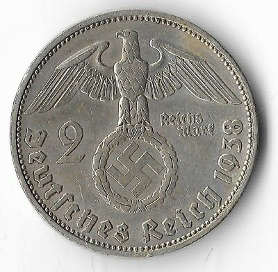Rare Very Old Antique Silver 1938-J WWII Germany Eagle Great War Collection Coin