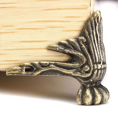 4pcsAntique Brass Wood Case Feet Leg Corner Protector Decor For Jewelry Box WL