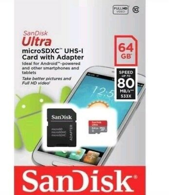 SanDisk Ultra 64GB Micro SD Memory Card SDXC UHS-I 80MB/s Class 10 + Adapter