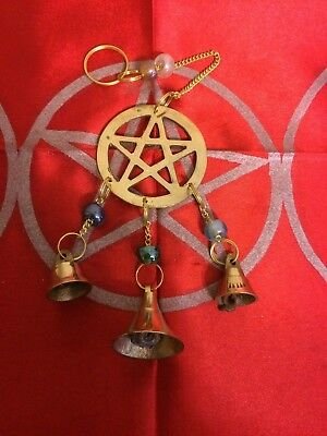 Small Three Bell Pentagram wind chime Wiccan Pagan Witchcraft Home Decor