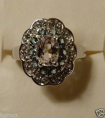 1.80 Genuine Kunzite  Top Quality Ring W Santa Maria Aquamarine & Topaz Size 8