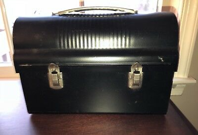 Black Dome Top Lunch Pail Metal Handle Latches Bottle Keeper Work/Factory VGC