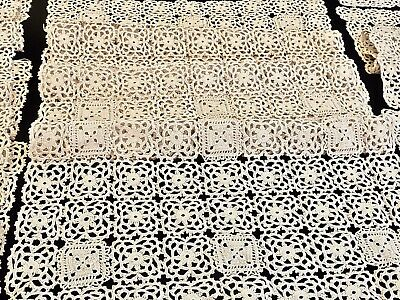 Fabulous Antique Hand Made Italian Bobbin Lace Cantu Table Runner & 8 Placemats