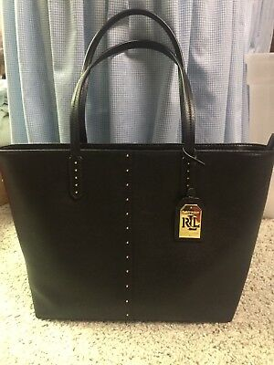 e577f97081bc Ralph Lauren Leather Cobden Tote Med. Lauren Black Gold Metal  278 NWT