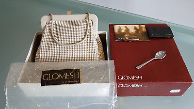 VINTAGE GLOMESH EVENING BAG, WITH ORIGINAL BOX. IN SUPERB CONDITION. 24cm LONG.