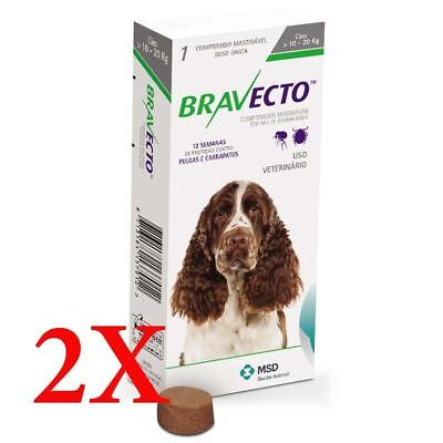 2 Boxes Genuine Bravecto for Medium Dogs 10-20 kg   EXP 02-2020 by MSD