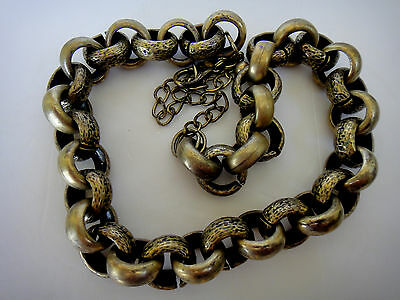 """CHICO'S NECKLACE Large Chain Link Brushed Gold Tone Logo Tag 21"""" Smooth & Etched"""
