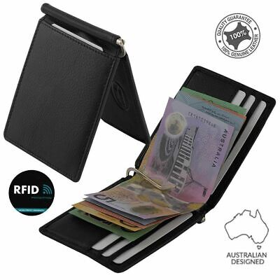 RFID Genuine Cowhide Leather Slim Men's Money Clip Wallet Card Holder, Black New